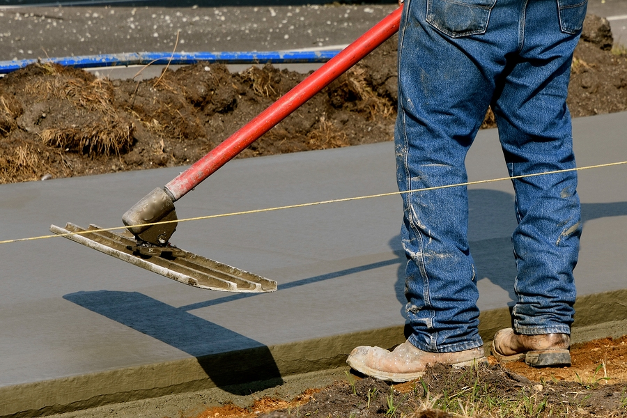 smoothing the concrete road
